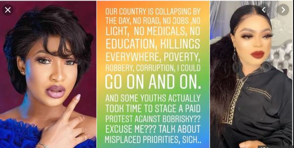 Tonto Dike slams Nigerian youths for staging a protest against Bobrisky